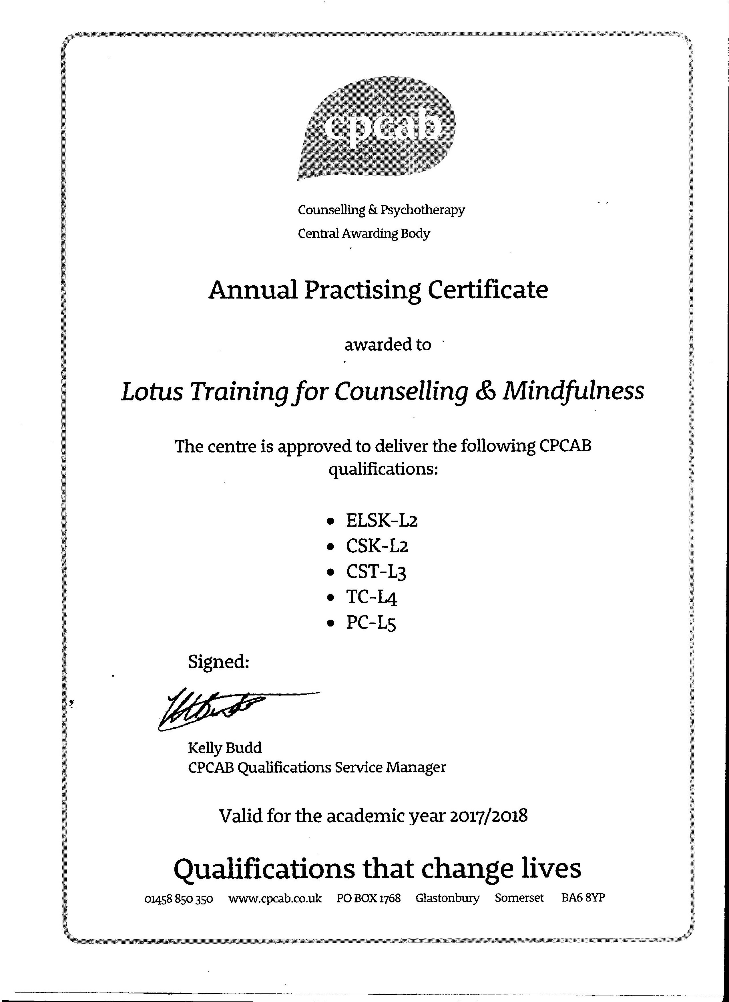 About lotus training co lotus training our courses lead to nationally regulated qualifications awarded by the counselling and psychotherapy central awarding body cpcab the only xflitez Choice Image